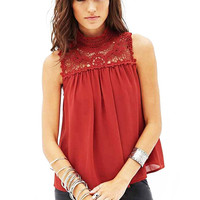 Red Lace Splicing Top With High Neck
