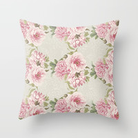pink peony pattern Throw Pillow by sylviacookphotography