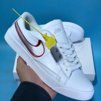 HCXX N568 Nike Wmns Tennis Classic Embroidery Two Logo Skateboard Shoes White