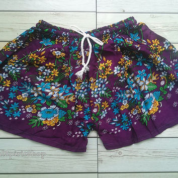 Purple Flora Retro Print Shorts Summer Beach Tribal Fashion Clothing Aztec Ethnic Hobo Chic Cloth Cute Comfy Wear with Tank top or Jeans