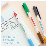 Iconic unique six Color 0.4mm twin ballpoint pen set of 3