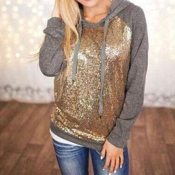 LMFUX5 Fashion Sequin stitching hooded sweater