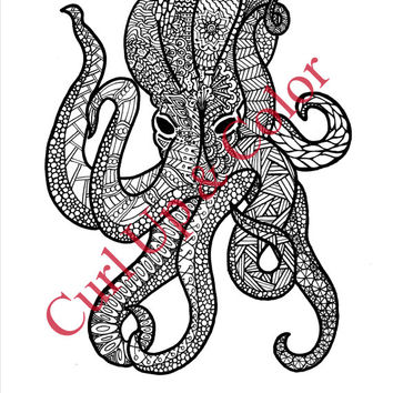 Adult Coloring Page - Octopus - Instant Download - Zentangle - Doodle Illustration - DailyDoodler - Unique Art Drawing