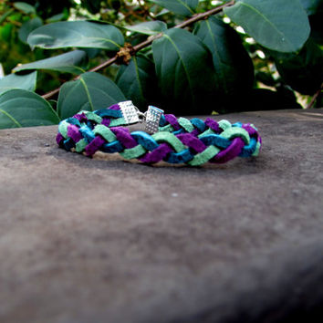 Leather Essential Oil Diffuser Bracelet in Purple, Teal and Lime Green~Men's Diffuser~Women's Diffuser~Diffuser Jewelry~Womens Bracelet