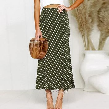6c063a8c2c0c Elegant Polka Dot Satin Skirt Women Casual High Waist Ankle-Leng