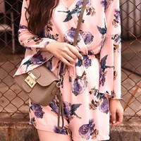 Pink Floral Print Bell Sleeves Chiffon Romper