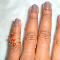 Red Crystal Stackable Above Knuckle Rings, Adjustable Midi Ring, Slim Stackable rings, Edgysheeq statement rings for everyday Flair