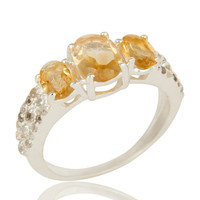 925 Sterling Silver Citrine And Blue Topaz Gemstone Halo Style Ring