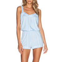 Bella PJ Romper in Caspian Sea Stripes & White
