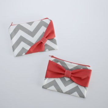Cosmetic Case / Zipper Pouch / Makeup Bag - Gray and White Chevron Coral Bow - Choice of Bow Style