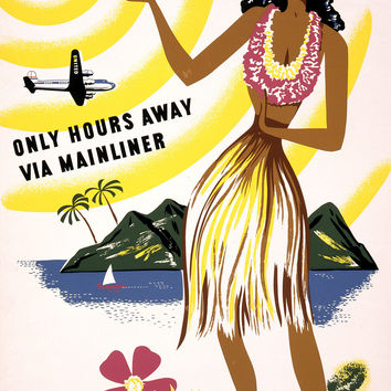 Travel Hawaii Only Hours Away Via Mainliner Poster