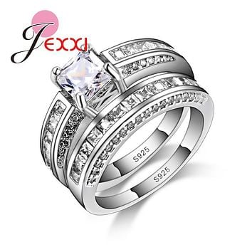 Jemmin 925 Sterling Silver Wedding Ring Sets For Women Bridal Jewelry Luxury Vintage Bague Engagement Bijoux For Lady