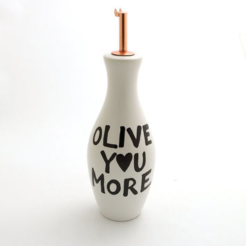 Olive oil dispenser, gift for foodie , olive you more, salad oil holder, ceramic, olive oil bottle, home and living, valentines day gift