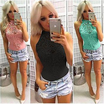 Sexy Fashion Hot Ladies Women Sleeveless Bodysuit Lace Halter Solid Playsuit Romper Leotard Body Tops Jumpsuit Clubwear Hot Sell