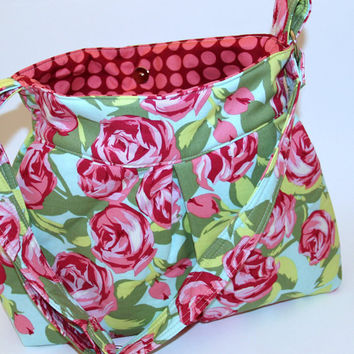 Hobo Bag Purse Amy Butler Tumble Roses by chitchatdesignsllc