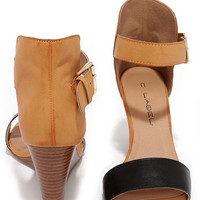 Chic Black and Tan Wedges
