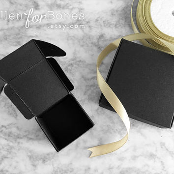10pcs ∙ Medium Thick Foldable Black Box DIY Paper Favor Gift Box Flat-pack Square Handmade Soap Box Easy Fold Jewelry Packaging Supplies