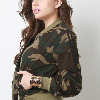Sporty Camo Print Knit Bomber Jacket