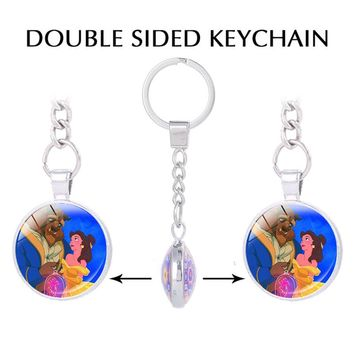 Beauty and the Beast Double sided Pendant keychain for keys beauty and the beast rose key holder handmade Occult jewelry