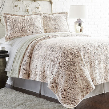 Faux fur/Sherpa Comforter Set Dust