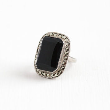 Sale - Vintage Art Deco Sterling Silver Black Onyx & Marcasite Ring - 1920s 1930s Size 7 Statement Black Gemstone Flapper Cocktail Jewelry
