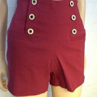 Solid Red Retro Vintage High Waist Shorts With Pockets and Stretch Waist Band - Smoky Mountain Boutique