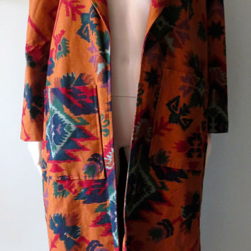 Southwest Native American Indian Aztec D'Carlo Floor Length Duster Coat Vintage