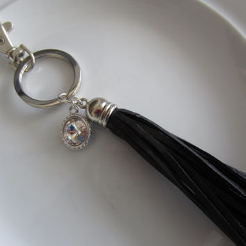 Swarovski crystal charm keychain with black leather tassel, crystal purse charm, key chain purse charm, leather key chain, tassel for key