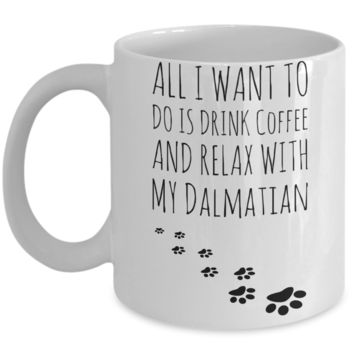 Coffee Play Dalmatian Mug - Funny Sayings Quotes Cup for Dog Lovers - Perfect Holiday 2016 Gift for Hot Cocoa, Coffee, Milk, Tea & Pencils