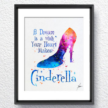 Cinderella Disney inspired Princess Watercolor Print Archival Fine Art Print Children Wall Art Wedding Gift Home Decor Wall Hanging Item 315