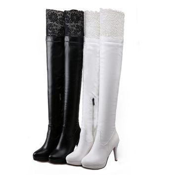 Hot Sale Brand Spring Lace Over The Knee Boots High Heels Sexy Tall Female Boots Black Thigh High Boots Big Size 34-43 AA557