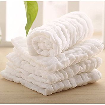 """Maypluss Cotton Organics Baby Washcloths (6 Pack) - Premium Extra Soft & Super Water Absorbent for Baby's Sensitive Skin - Perfect 11""""x11"""" Reusable Wipes -Excellent Baby Shower Pure White"""