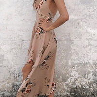 Khaki V-Neck Cross Back Irregular Hem Maxi Dress
