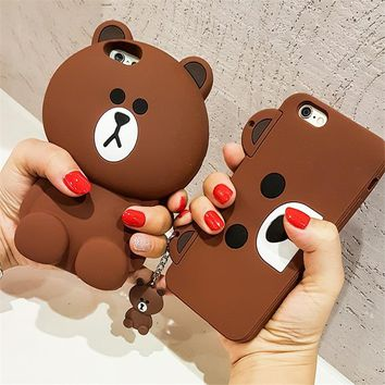 Cute Korean Cartoon Capa Case 3D Teddy Bear Coque Soft Silicone Phone Cases For iPhone 8 7 7Plus 5 5S SE 6 6S 6Plus Cover Fundas
