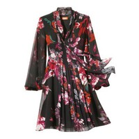 Kirna Zabete for Target® Long-sleeve Tie Front Dress in Floral Multi Print