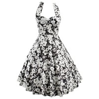 Partiss Women's Sleeveless Hepburn Style Printing Bubble Skirt