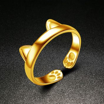 Silver Plated CAT EARS RING Thumb Wrap Ring Adjustable Pet Gift Gold