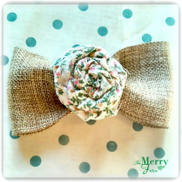 Fabric Rose Hair Bow/ Handmade Rose Hair Bow with Jute Ribbon/ Fabric Flower Bow/ Fabric Bow