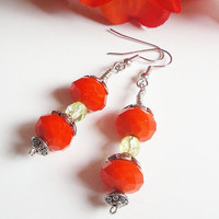 Orange Peridot Faceted Silver Crystal Earrings/ Earrings Tangerine Tango/ Mom Gift Under 25