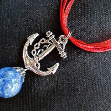 Anchor Blue Fried Marble Charm Red Ribbon Necklace by KatieDidsx3