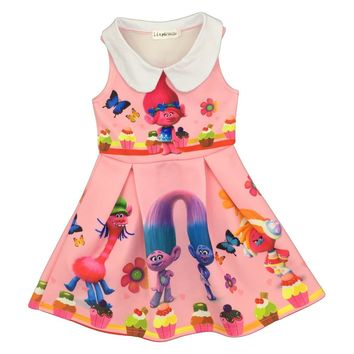 2017 New summer Girls dress Sleeveless Catoon Trolls Kids Doll Collar dress Children costume girls party dress