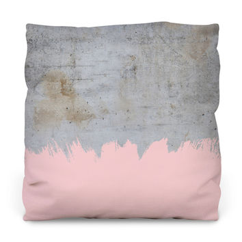 Pink on Concrete Throw Pillow