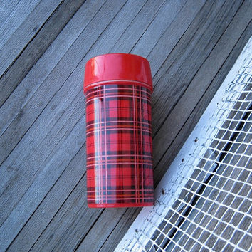 Lunchbox-Size Red Plaid Vintage Thermos - Retro Aladdin Thermos; Unused - Mod/'60s Thermos - Red Plaid Thermos for Camping/Festivals