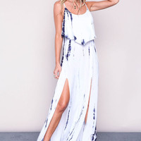 TIE DYE SLIT GAUZE MAXI DRESS