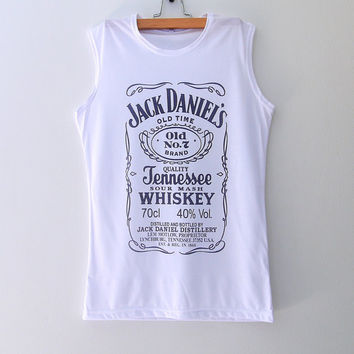 Jack Daniels White Women Muscle Tank Top Sleeveless T Shirt Vest Size S M L