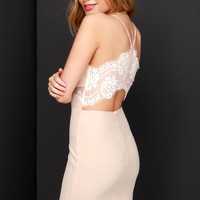 Charm and Lace Peach Lace Dress