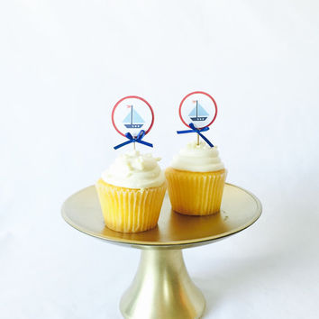 Nautical blue and red cupcake toppers - set of 12 toppers - For First Birthdays, Birthdays, Baby Showers, Bridal showers