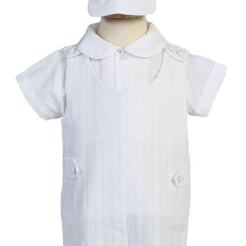 Embroidered Cotton Christening Romper 3 Pc White Outfit (Baby Boys Newborn - 18 months)