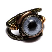 Steampunk Jewelry - RING - BLUE taxidermy glass eye | CatherinetteRings - Jewelry on ArtFire
