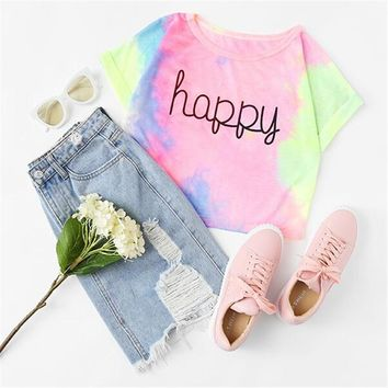 Happy  Pastel Violet Pink Yellow Tie Dye Crop Top